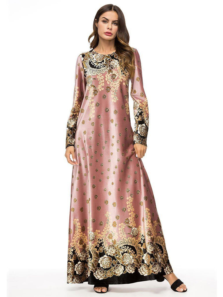 Velvet floral printed round neck pink loose waist long sleeve dress