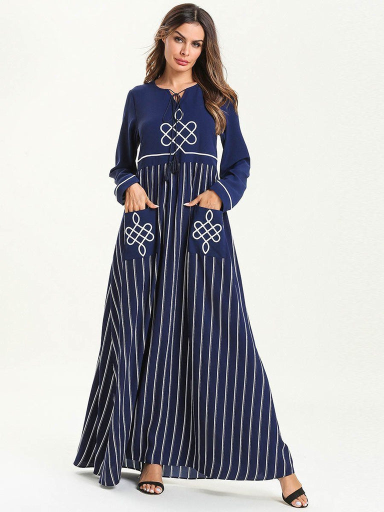 Fashion round neck Colour Block stitching striple embroidered loose style long maxi dress