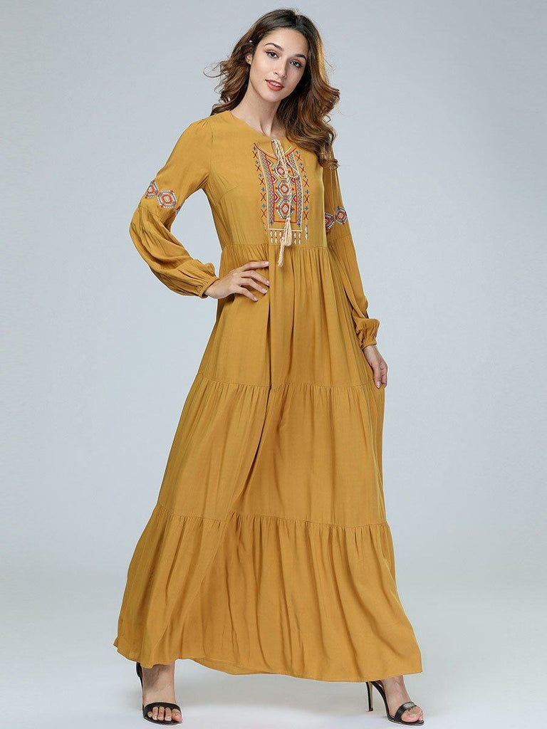 Yellow embroidered cotton large size long sleeve dress