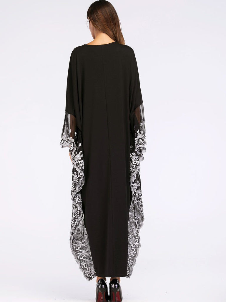 black round neck bat sleeve Ethnic Style Dress