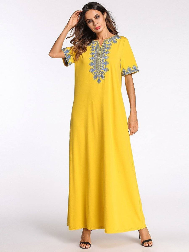 yellow round neck embroidery half sleeve cotton dress