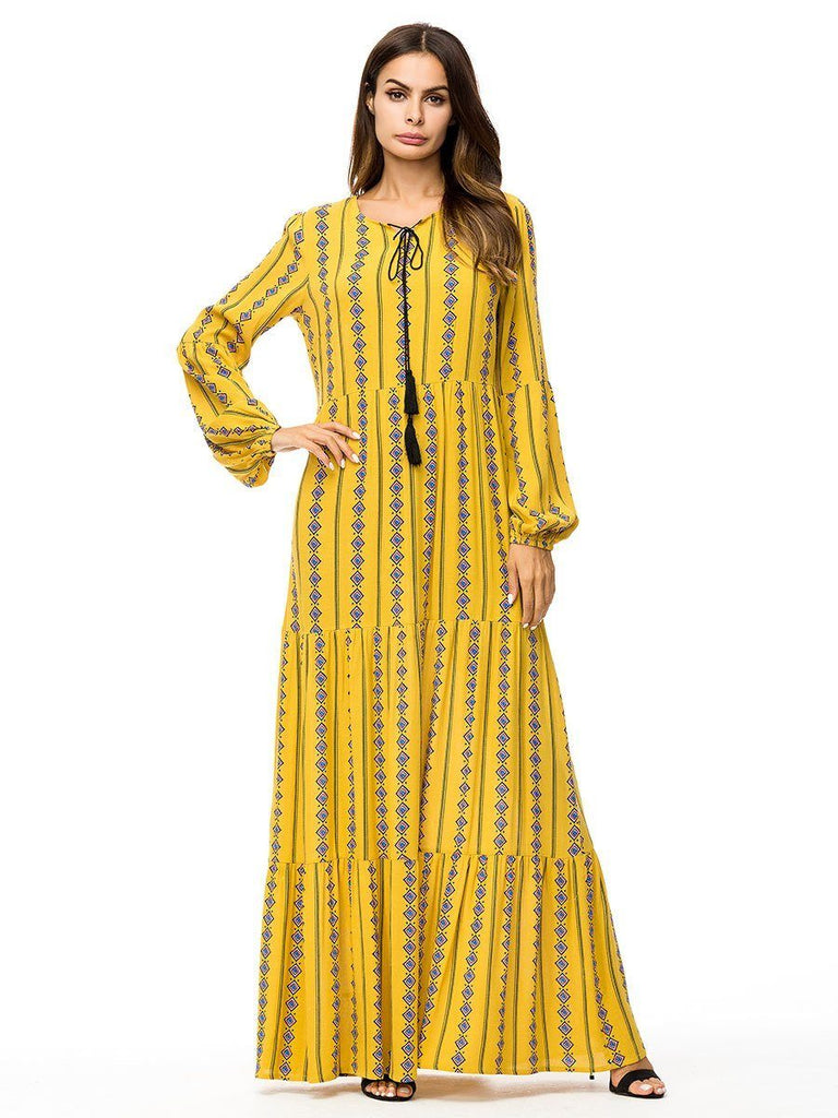 ruffle melon sleeve round neck yellow with printed cotton long dress
