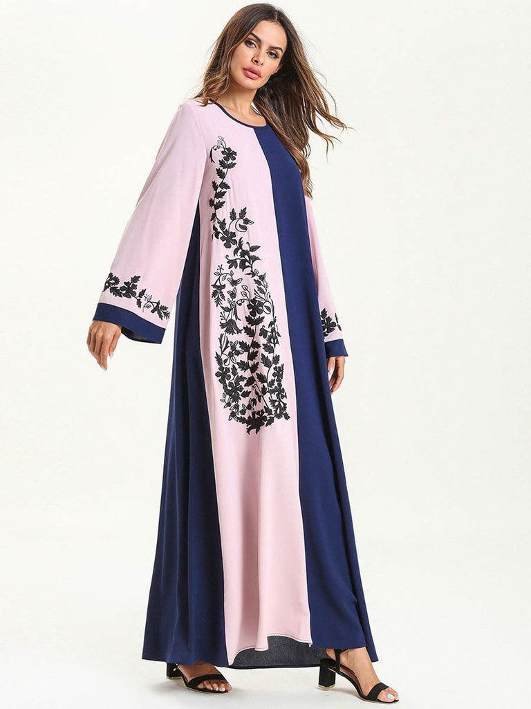 Fashion round neck Colour Block stitching floral embroidered loose style long maxi dress