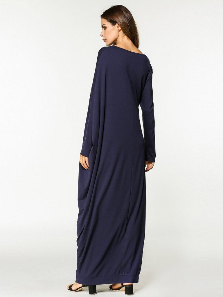 dark blue round neck cotton casual muslim long sleeve dress
