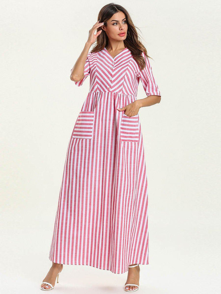New round neck pink coulor stripe long-sleeved loose style with pocket caftan maxi dress