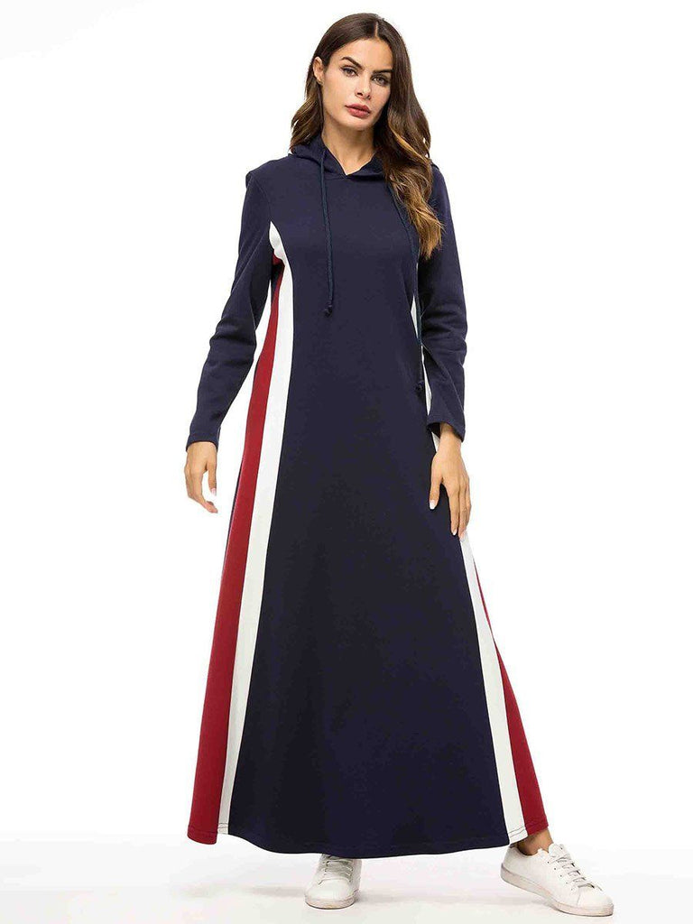 Dark blue with hooded block color casual cotton long sleeve dress