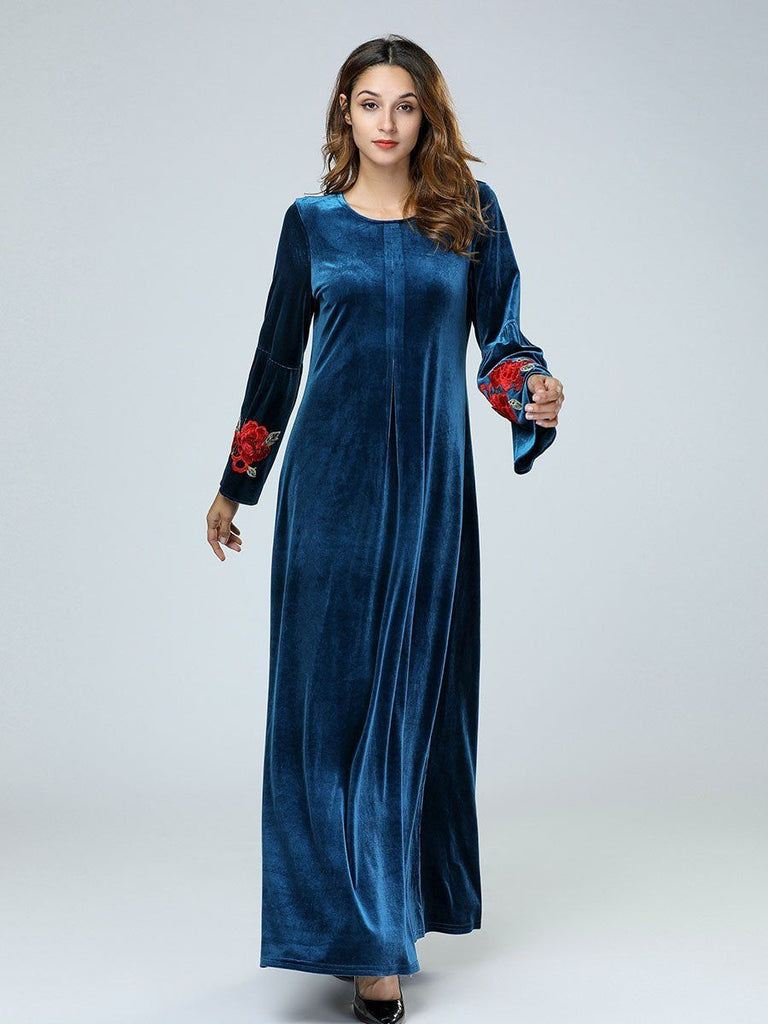 Round neck velvet bell sleeve embroidery long dress