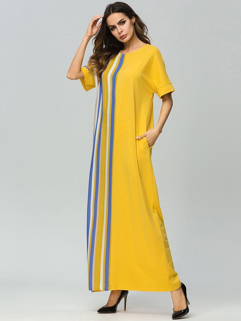 New fashion Yellow Knitted stitching short sleeve loose maxi dress