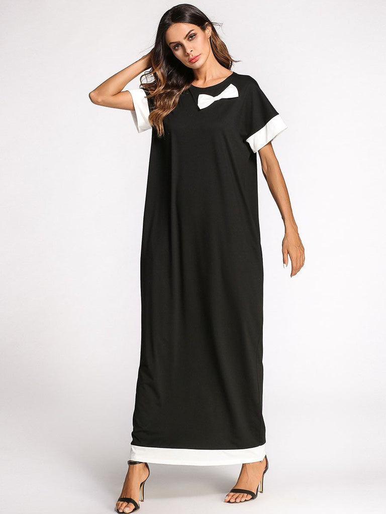 black white stitching bow round neck cotton long dress