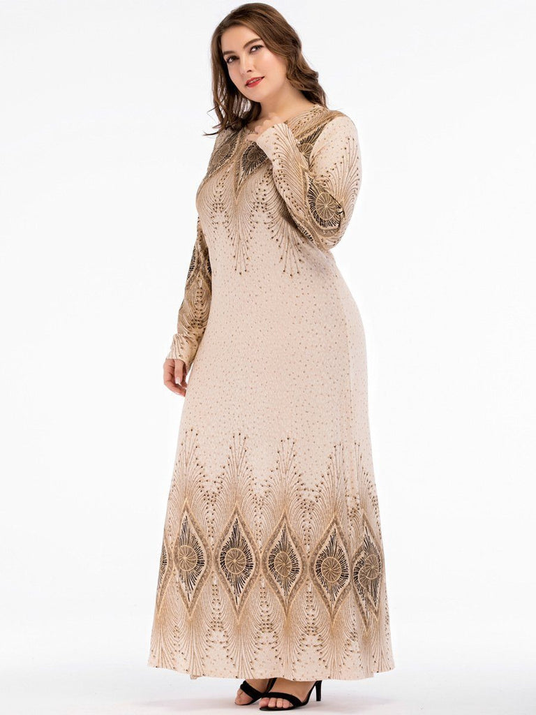 apricot round printed long sleeve Plus Size Ethnic Dress