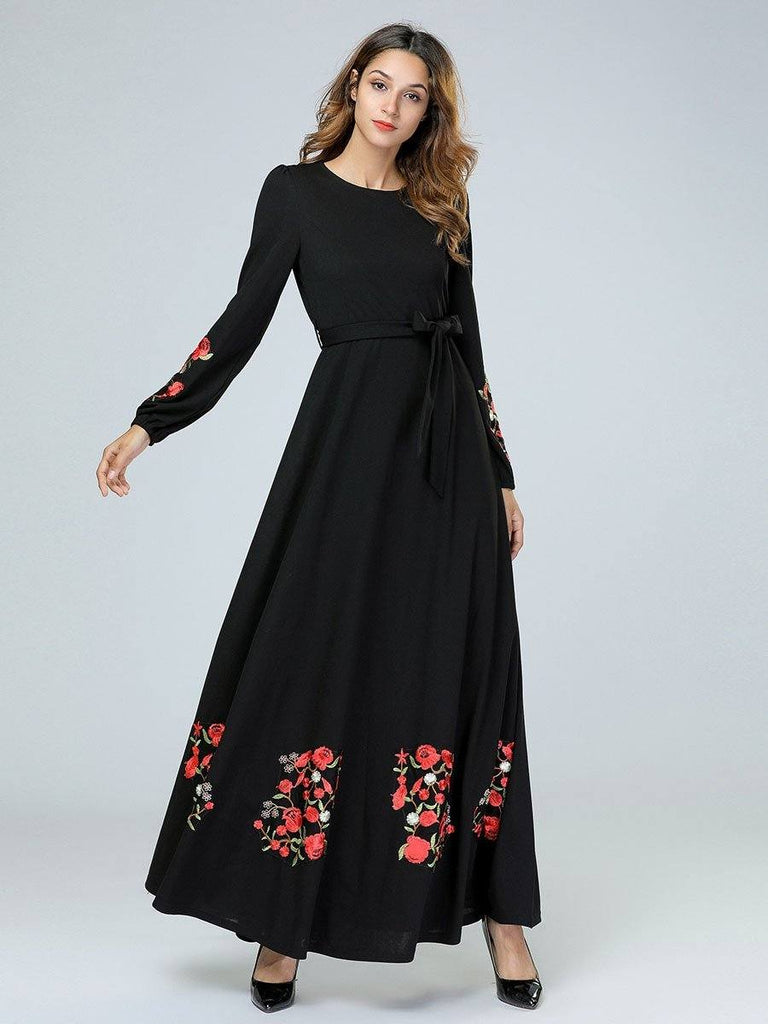 black melon sleeve round neck floral long dress