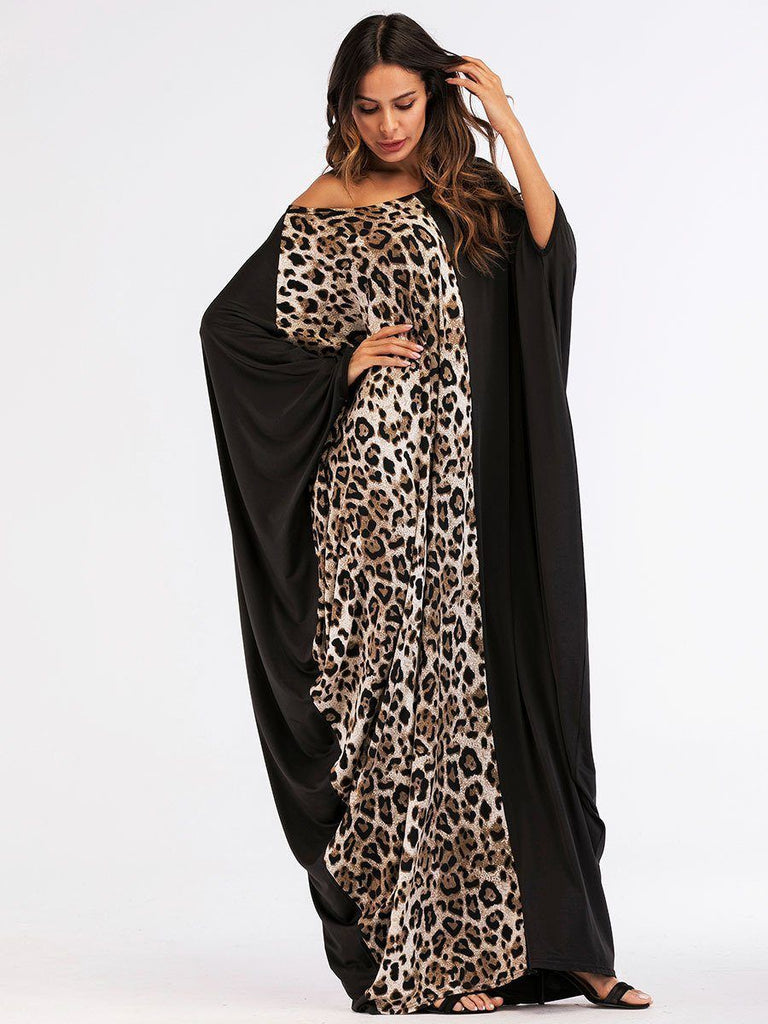 Leopard Black Batwing sleeve stitching maxi muslim dress