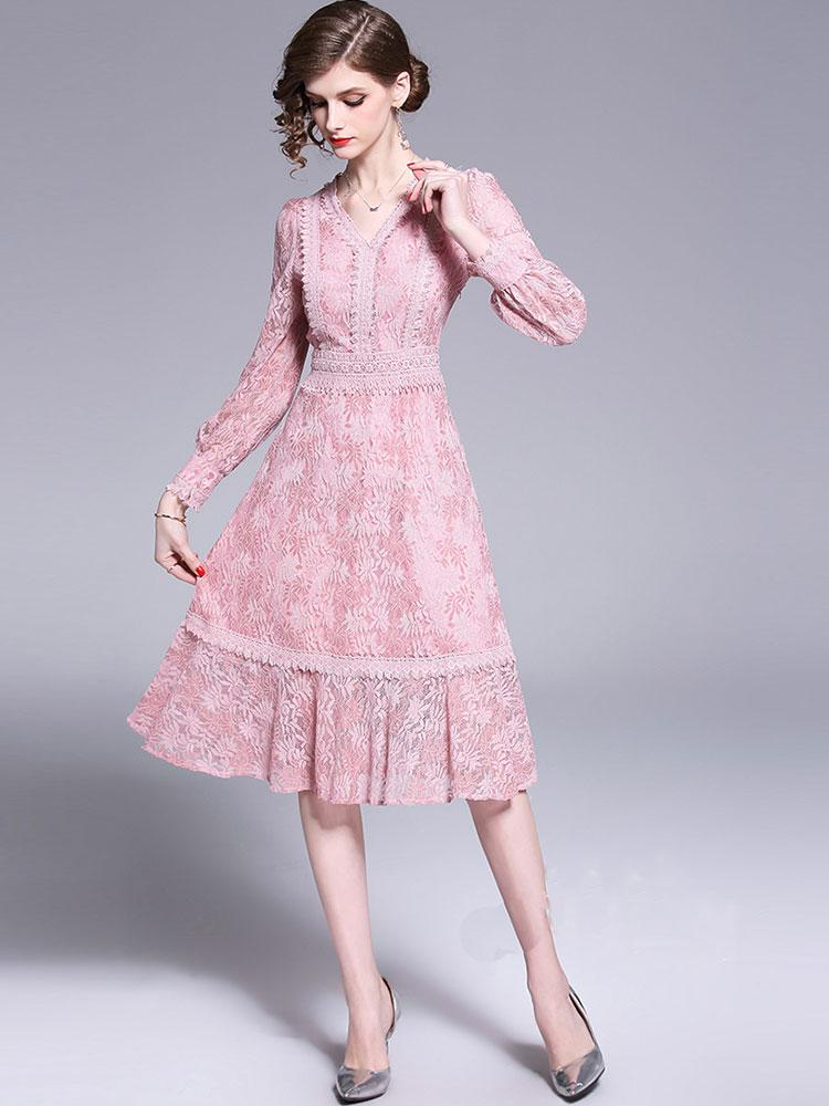 High Quality Vintage Chic Pink Fringed feather Long Sleeve Lace Luxury Slim Evening dress