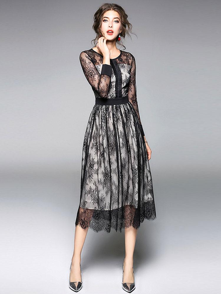 Black round neck Slim long-sleeved lace long A-line dress
