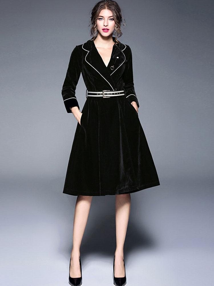 New V double-breasted long velvet slim windbreaker dress with belt