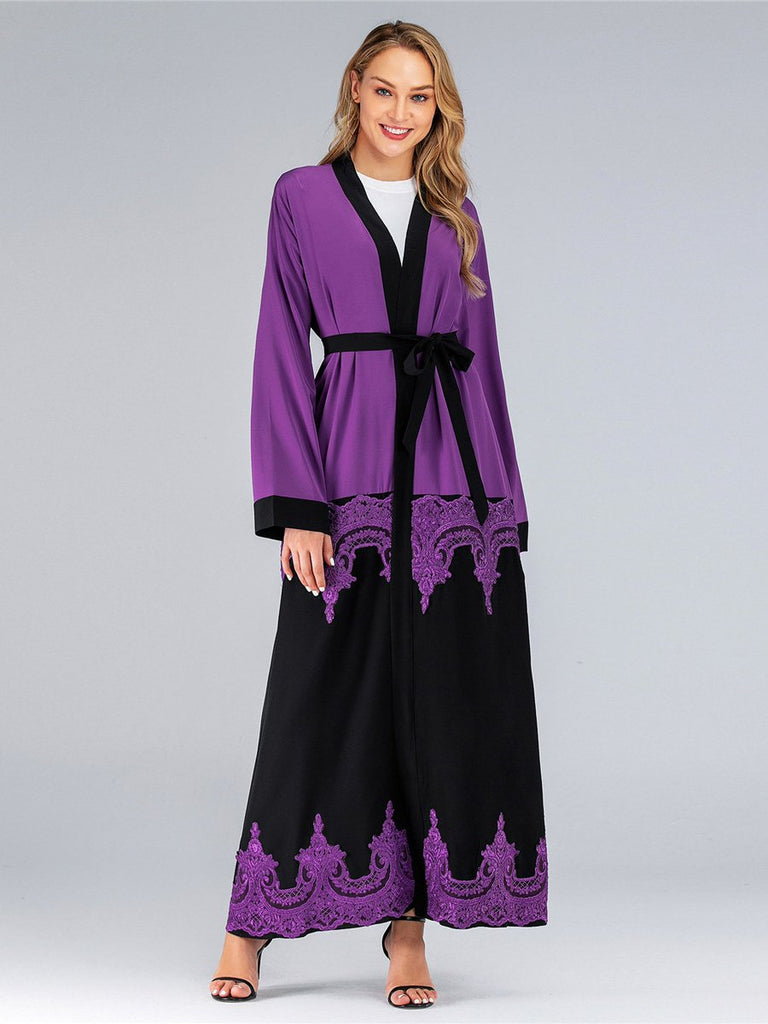 Lace Cutout Lace Up Cardigan Loose Robe