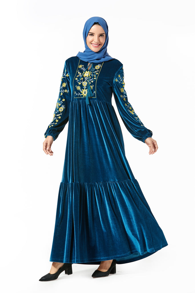 High quality fashion embroidered abaya style dress