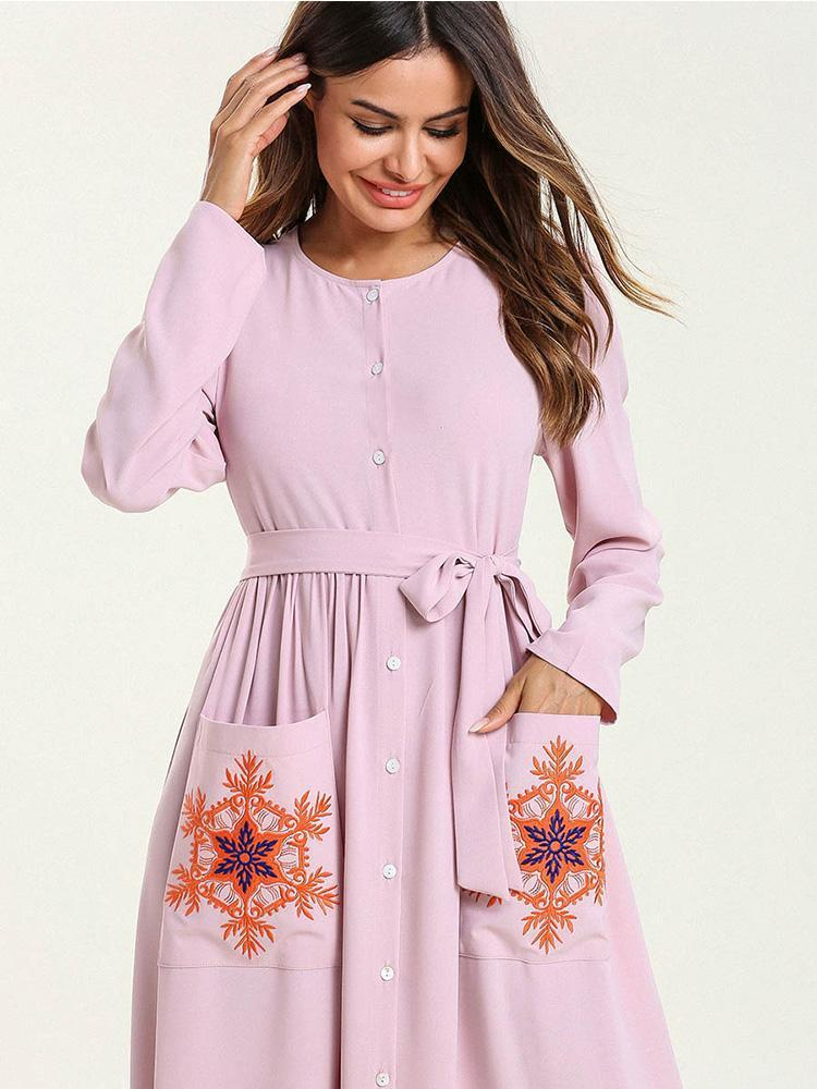 Single-breasted lace-up embroidered dress_1552969558.jpg