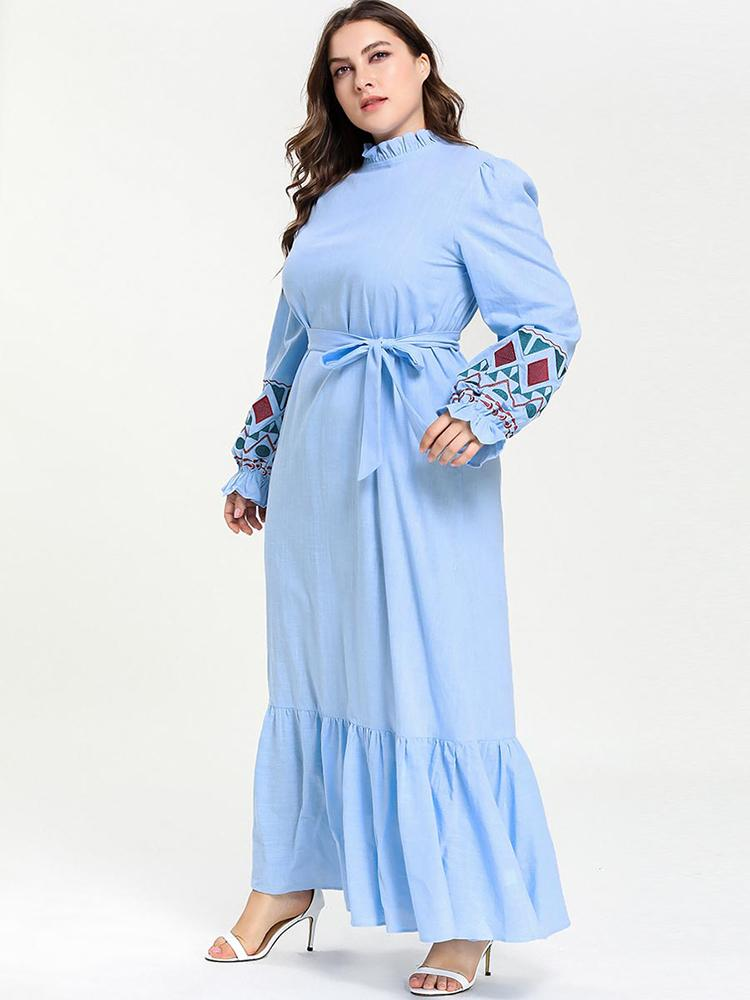 Plain colour embroidered belted skirt with long sleeves_1554115987.jpg
