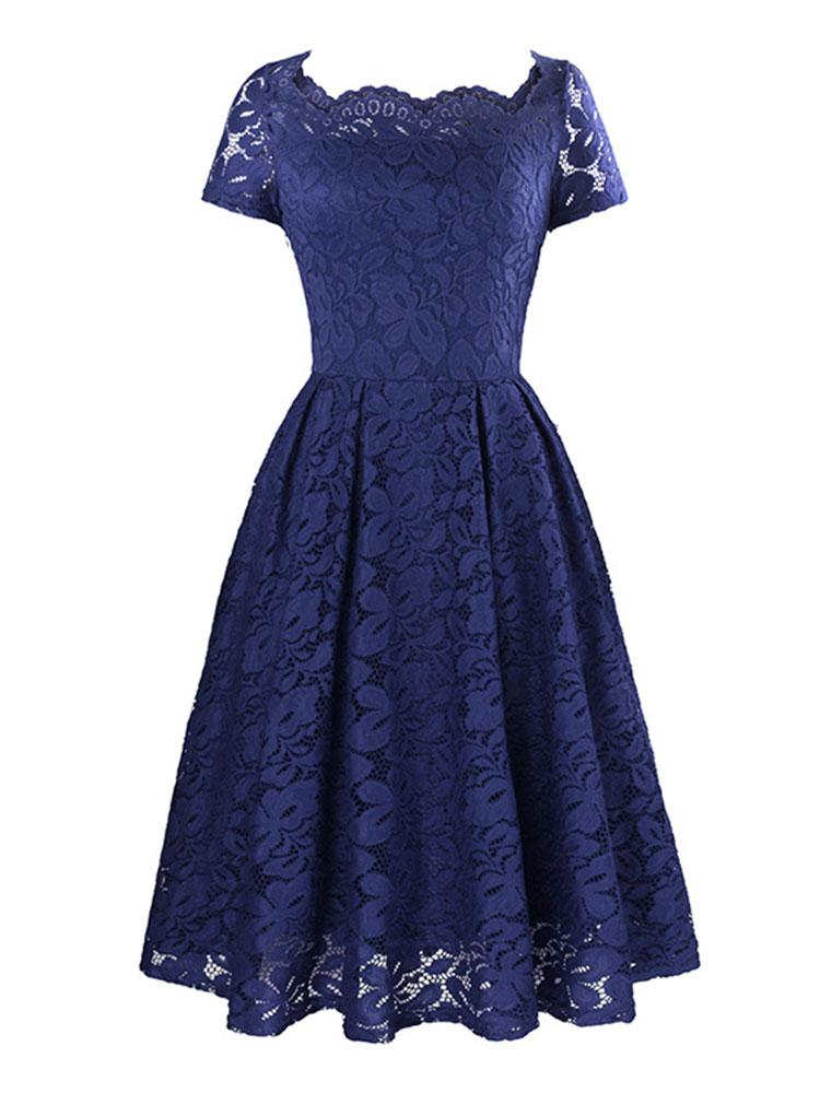 Multicolor retro style sexy openwork lace dress polyester slim midi dress
