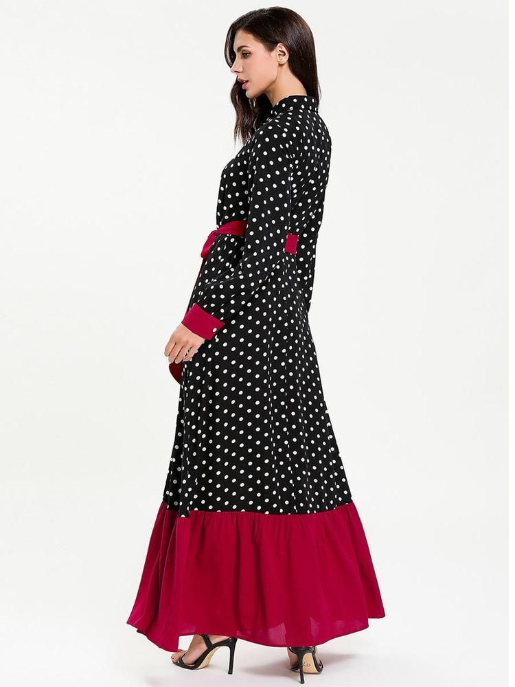 Single breasted lactation dress with black dot print_1554788582.jpg