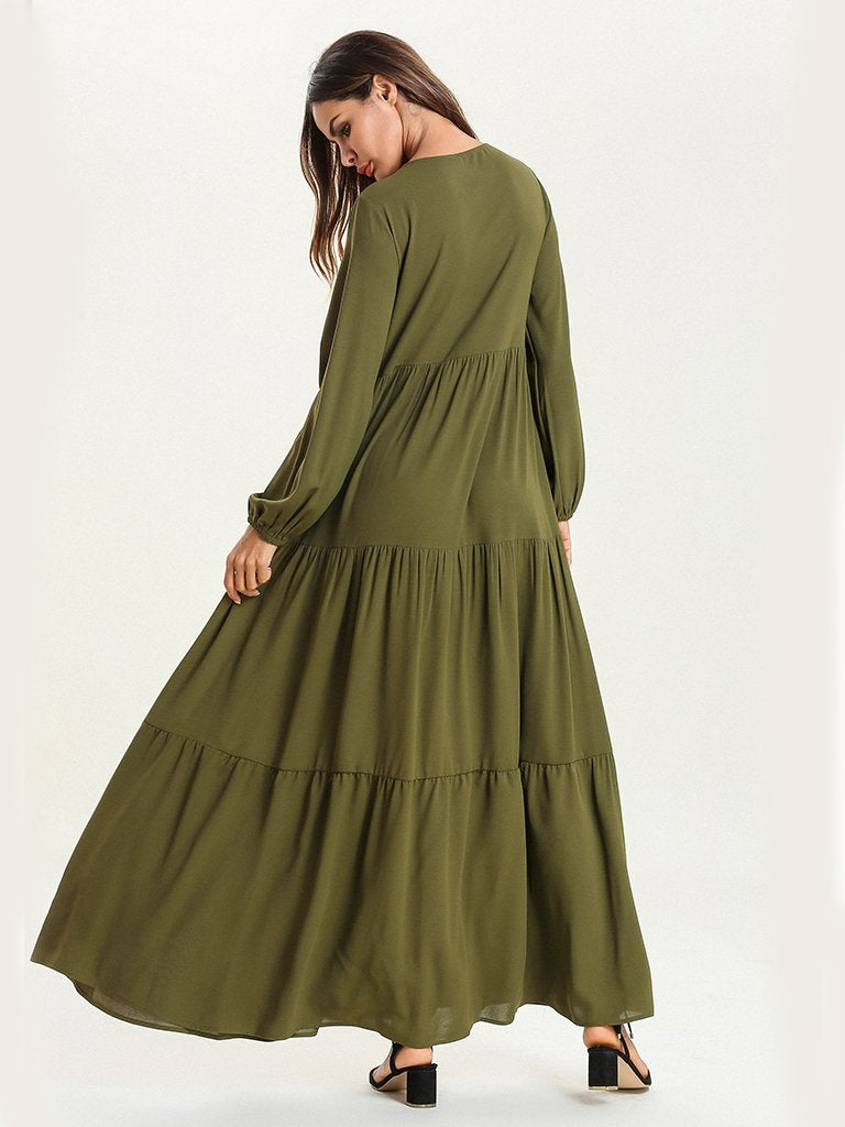 Olive Green Fashion Embroidered Long Sleeve Bow Muslim Casual maxi Dress