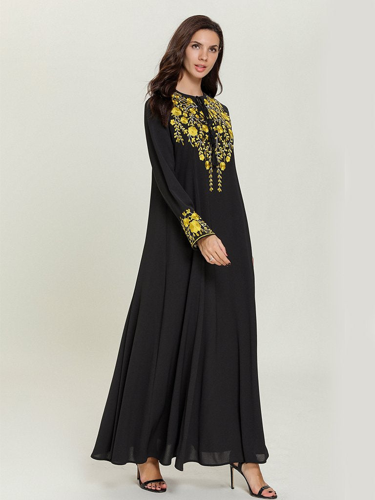 Black Fashion embroidered long-sleeved Muslim casual maxi dress
