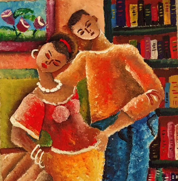 African American Lovers Acrylic on paper art