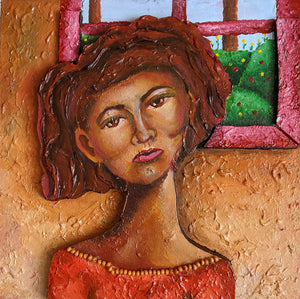Woman by the Window - Acrylic on Wood