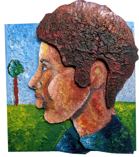 Profile of a Man - Acrylic on Wood