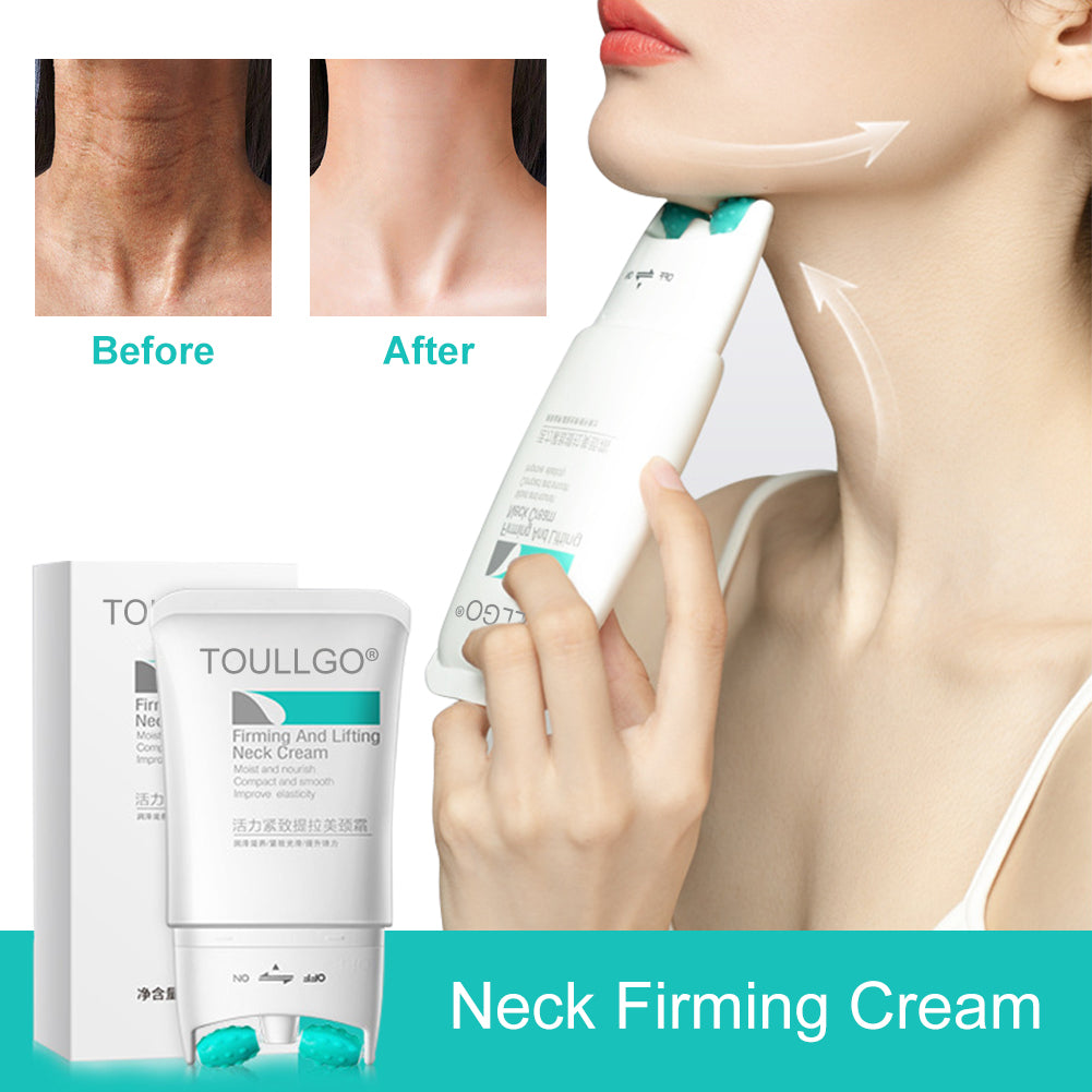 ToullGo-Neck Firming Cream, 2 in 1 Roller Massage Neck Cream Anti Aging Wrinkle Moisturizer for Neck