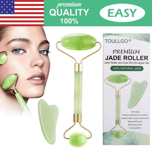 ToullGo-Jade Roller, Gua Sha Tools, Deluxe Facial Massager for Brighter Skin