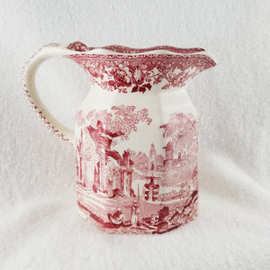Vintage Fountains by Mason's Fenton 32 Oz Jug Red Pink Transferware
