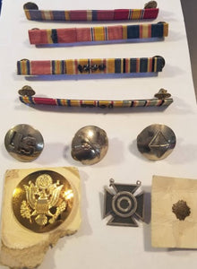 LOT of WWII US Army Ribbons, Insignia, Medals