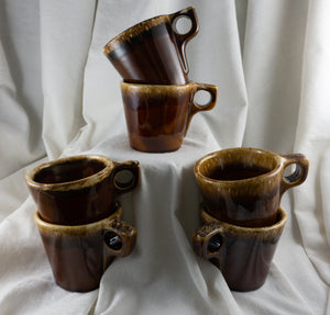 "Hull Pottery Brown Drip Mug Coffee Cup Small ""O"" Handle SET of SIX"