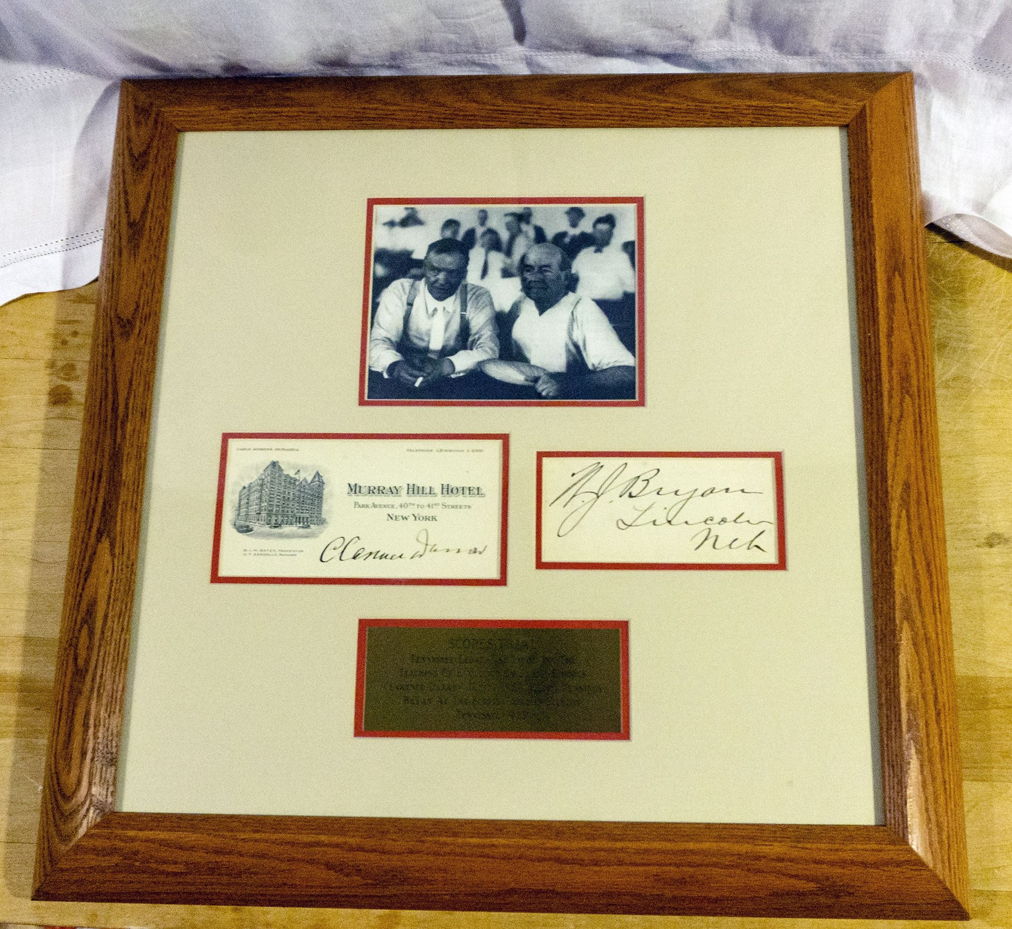 Framed Autographs Clarence Darrow and William Jennings Bryan Scopes Monkey Trial