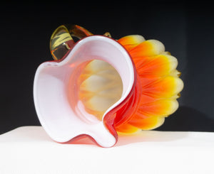 Kanawha Cased Glass Hand Blown Pitcher in Red and Orange