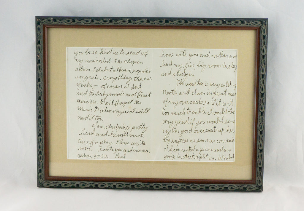 J. Paul Getty Handwritten Letter to Father on Stationery 1911 Framed