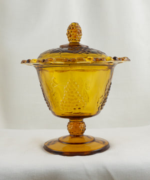 Footed Candy Dish & Lid Harvest Carnival (Amber) by COLONY