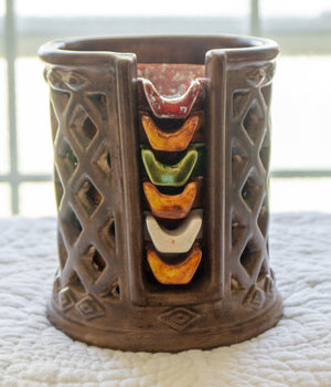 1972 Ceramic Pottery Stack of Earth Toned Ashtrays in Holder