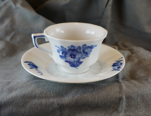 Blue Flowers by ROYAL COPENHAGEN Mid Century Danish Footed Demitasse Cup & Saucer Set