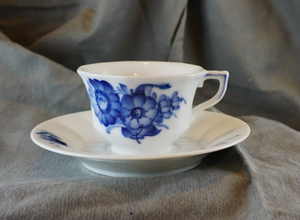 Blue Flowers by ROYAL COPENHAGEN Mid Century Danish Footed Cup & Saucer Set
