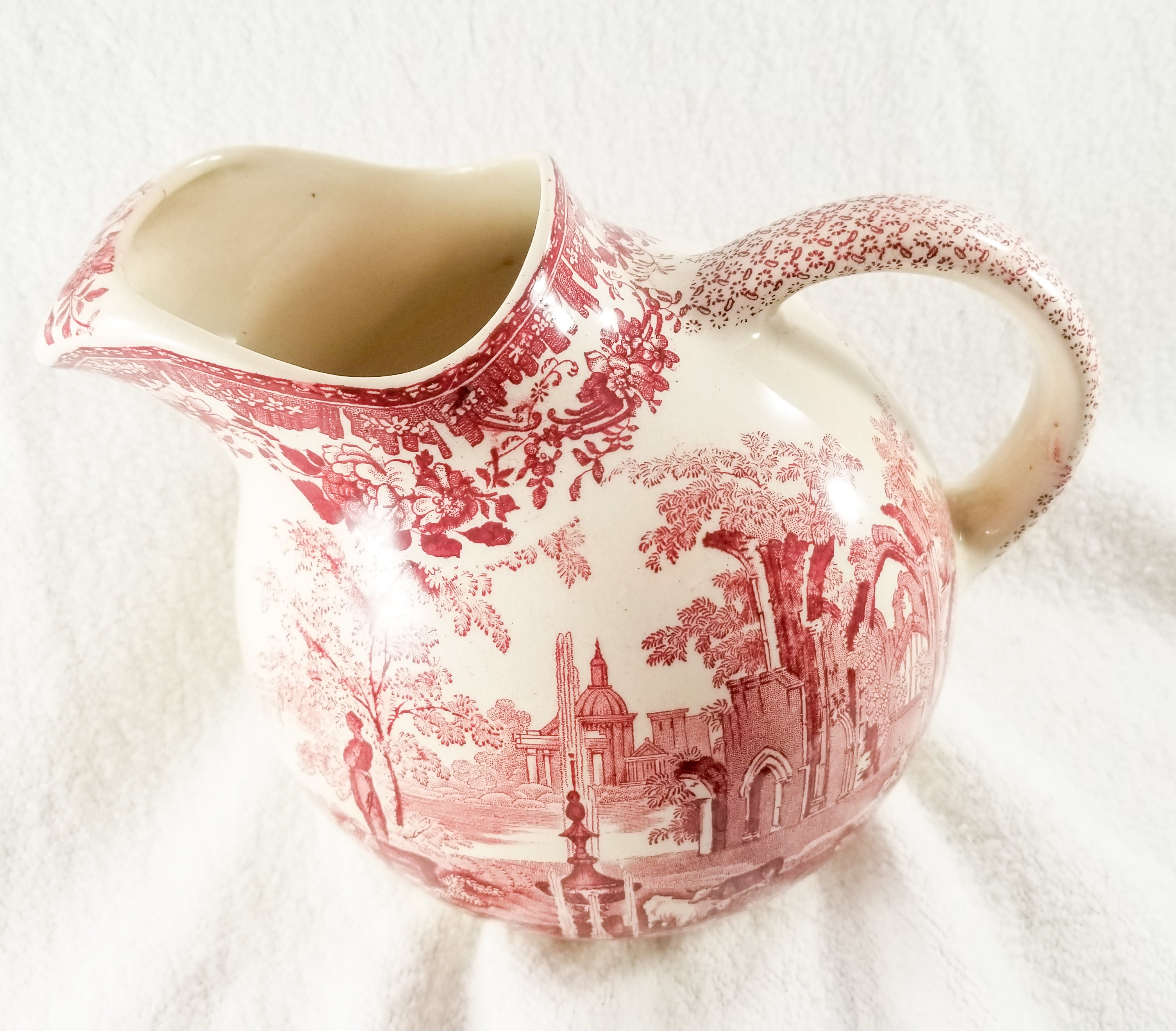 Vintage Fountains by Mason's Red Pink Transferware 48 oz Ball Pitcher