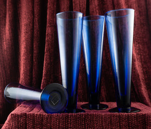 Tuscany Classics by Lenox Cobalt Blue Pilsner Beer Glasses SET of Four