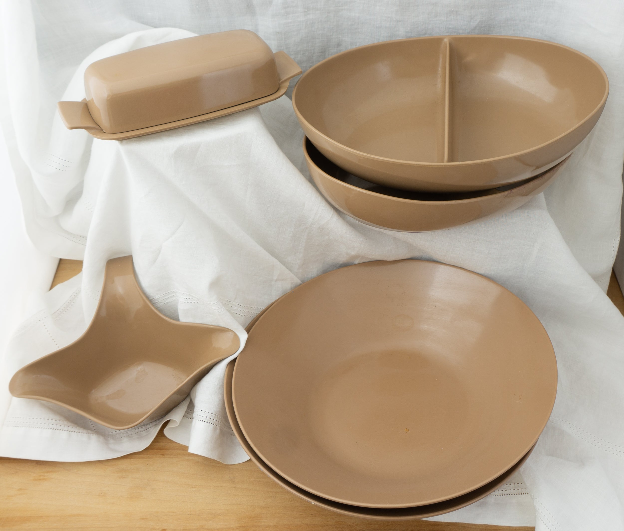 50 Piece LOT Mid Century Modern Melamine Melmac Milk Chocolate Brown Dishes Almost 50 Pieces Royalon Boonton Vintage