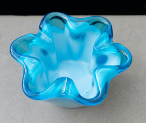 Sasaki Glass Co Aqua Blue Metamorphic Ashtray