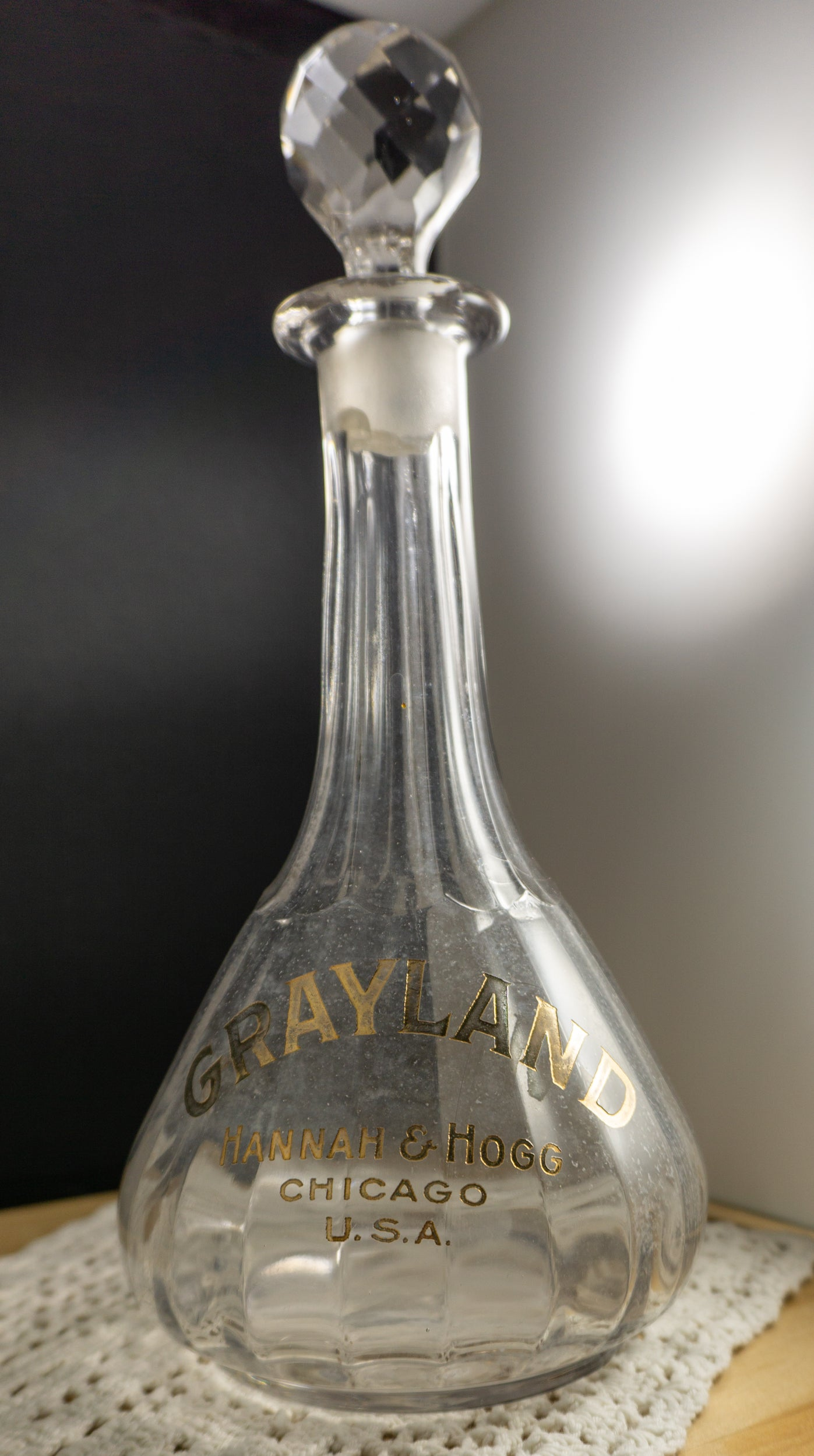 Antique Glass Grayland Hannah & Hogg Liquor Bottle Decanter with Stopper