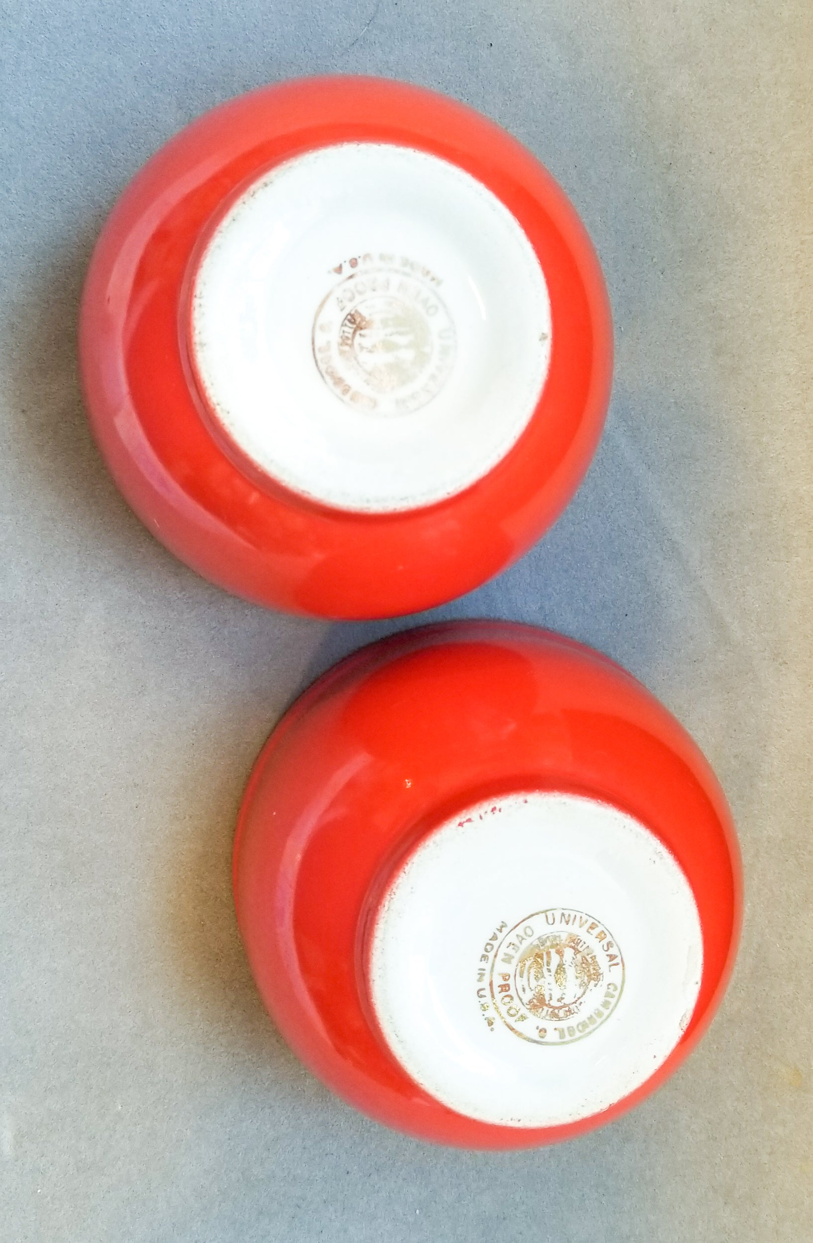 Two Vintage Universal Potteries Poppy Chinese Red Small Refrigerator Dishes  |