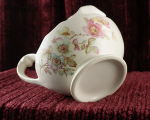 Vintage Pink Dogwood Apple Blossom Gilt Paneled Creamer Unmarked