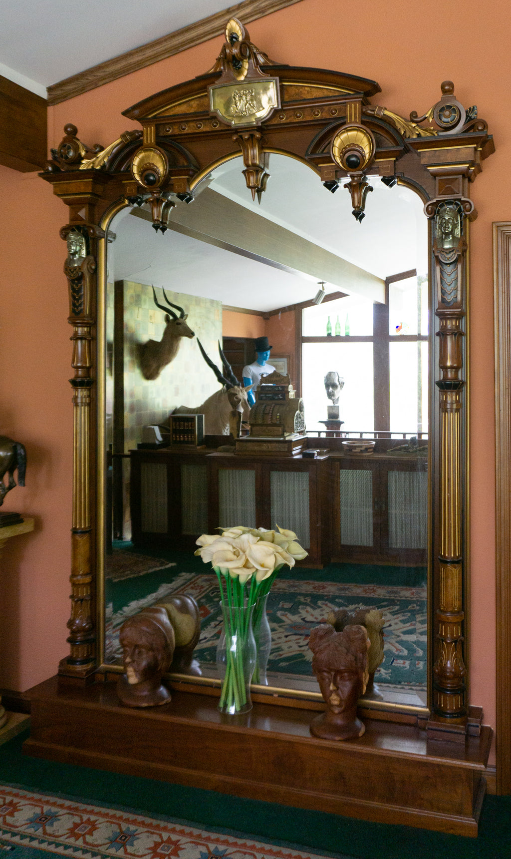 Monumental Vintage Egyptian Revival Pier Mirror